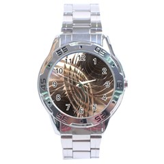 Abstract Copper Metallic Texture Stainless Steel Analogue Watch