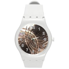 Copper Metallic Texture Abstract Round Plastic Sport Watch (M)