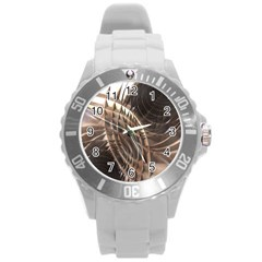 Copper Metallic Texture Abstract Round Plastic Sport Watch (L)