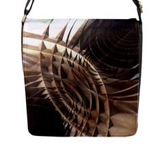 Copper Metallic Flap Closure Messenger Bag (l)
