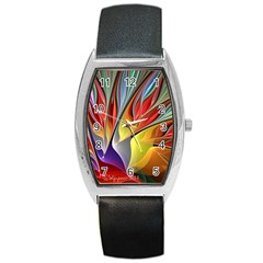 Fractal Bird of Paradise Barrel Style Metal Watch