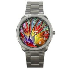 Fractal Bird of Paradise Sport Metal Watch