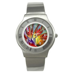 Fractal Bird of Paradise Stainless Steel Watch