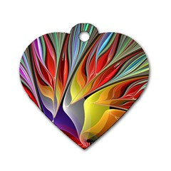 Fractal Bird Of Paradise Dog Tag Heart (two Sides)