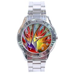 Fractal Bird of Paradise Stainless Steel Analogue Watch