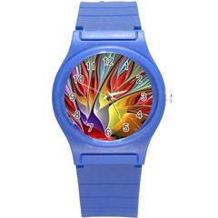 Fractal Bird of Paradise Round Plastic Sport Watch (S)