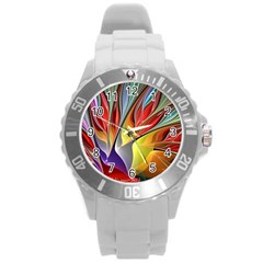 Fractal Bird of Paradise Round Plastic Sport Watch (L)