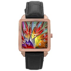 Fractal Bird of Paradise Rose Gold Leather Watch