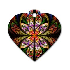Rainbow Elliptic Splits Dog Tag Heart (One Sided)