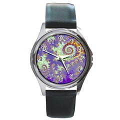 Sea Shell Spiral, Abstract Violet Cyan Stars Round Leather Watch (Silver Rim)
