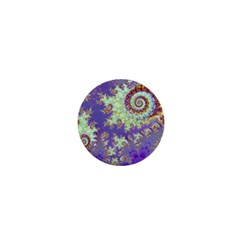 Sea Shell Spiral, Abstract Violet Cyan Stars 1  Mini Button