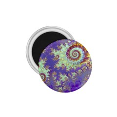 Sea Shell Spiral, Abstract Violet Cyan Stars 1.75  Button Magnet