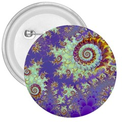 Sea Shell Spiral, Abstract Violet Cyan Stars 3  Button