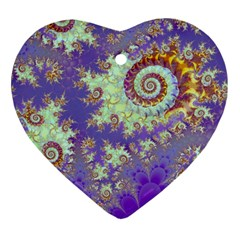 Sea Shell Spiral, Abstract Violet Cyan Stars Heart Ornament