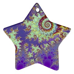 Sea Shell Spiral, Abstract Violet Cyan Stars Star Ornament