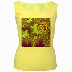 Sea Shell Spiral, Abstract Violet Cyan Stars Women s Tank Top (Yellow)