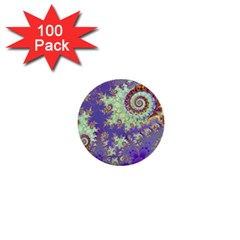 Sea Shell Spiral, Abstract Violet Cyan Stars 1  Mini Button (100 pack)