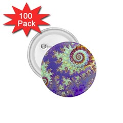 Sea Shell Spiral, Abstract Violet Cyan Stars 1.75  Button (100 pack)