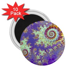Sea Shell Spiral, Abstract Violet Cyan Stars 2.25  Button Magnet (10 pack)