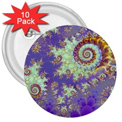 Sea Shell Spiral, Abstract Violet Cyan Stars 3  Button (10 pack)