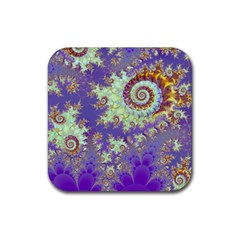 Sea Shell Spiral, Abstract Violet Cyan Stars Drink Coaster (Square)