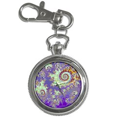 Sea Shell Spiral, Abstract Violet Cyan Stars Key Chain Watch