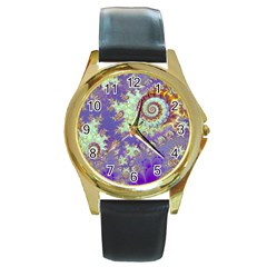 Sea Shell Spiral, Abstract Violet Cyan Stars Round Leather Watch (gold Rim)