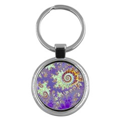 Sea Shell Spiral, Abstract Violet Cyan Stars Key Chain (Round)