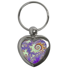 Sea Shell Spiral, Abstract Violet Cyan Stars Key Chain (Heart)