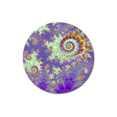 Sea Shell Spiral, Abstract Violet Cyan Stars Magnet 3  (round)
