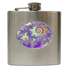Sea Shell Spiral, Abstract Violet Cyan Stars Hip Flask