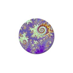 Sea Shell Spiral, Abstract Violet Cyan Stars Golf Ball Marker