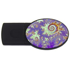 Sea Shell Spiral, Abstract Violet Cyan Stars 1GB USB Flash Drive (Oval)