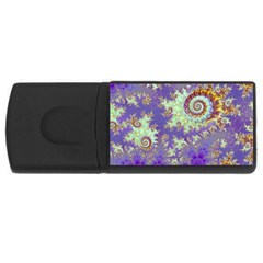 Sea Shell Spiral, Abstract Violet Cyan Stars 2GB USB Flash Drive (Rectangle)