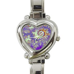 Sea Shell Spiral, Abstract Violet Cyan Stars Heart Italian Charm Watch