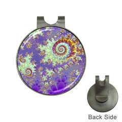 Sea Shell Spiral, Abstract Violet Cyan Stars Hat Clip with Golf Ball Marker