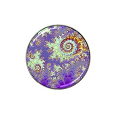 Sea Shell Spiral, Abstract Violet Cyan Stars Golf Ball Marker (for Hat Clip)