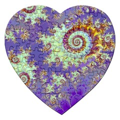 Sea Shell Spiral, Abstract Violet Cyan Stars Jigsaw Puzzle (Heart)