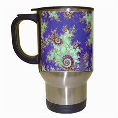 Sea Shell Spiral, Abstract Violet Cyan Stars Travel Mug (White)