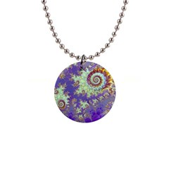 Sea Shell Spiral, Abstract Violet Cyan Stars Button Necklace