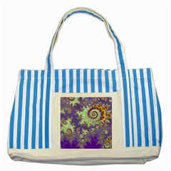 Sea Shell Spiral, Abstract Violet Cyan Stars Blue Striped Tote Bag