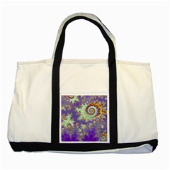 Sea Shell Spiral, Abstract Violet Cyan Stars Two Toned Tote Bag