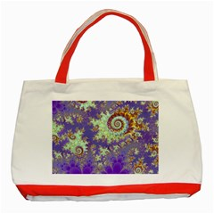 Sea Shell Spiral, Abstract Violet Cyan Stars Classic Tote Bag (Red)