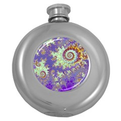 Sea Shell Spiral, Abstract Violet Cyan Stars Hip Flask (Round)