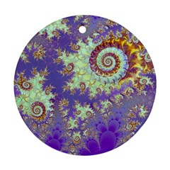 Sea Shell Spiral, Abstract Violet Cyan Stars Round Ornament (two Sides)