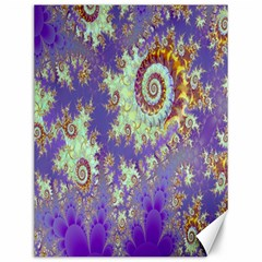 Sea Shell Spiral, Abstract Violet Cyan Stars Canvas 12  x 16  (Unframed)
