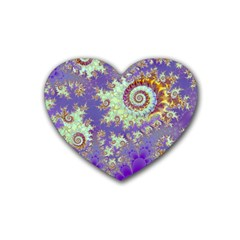 Sea Shell Spiral, Abstract Violet Cyan Stars Drink Coasters 4 Pack (Heart)