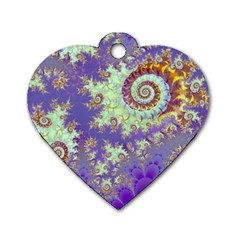 Sea Shell Spiral, Abstract Violet Cyan Stars Dog Tag Heart (two Sided)