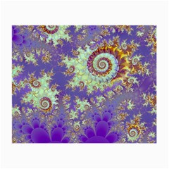 Sea Shell Spiral, Abstract Violet Cyan Stars Glasses Cloth (Small, Two Sided)