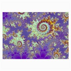 Sea Shell Spiral, Abstract Violet Cyan Stars Glasses Cloth (Large)